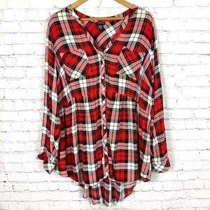 TORRID Red Plaid Long Sleeve Tunic Top 3X